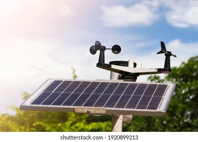 Weather station or a meteorological instrument with solar cell system to measure the wind speed. - Shutterstock ID 1920899213