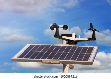 Weather station or a meteorological instrument with solar cell system to measure the wind speed. - Shutterstock ID 1920899216