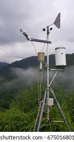Weather station that consist of Wind vanes,Wind speed Measurement,Located in the mountains amidst the mist.