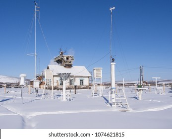 Weather station in Verkhoyansk, Yakutia, Russia. City Verkhoyansk holds the Guinness World Record for the greatest temperature range on Earth, from -67.8C in winter to 37.3C in summer.