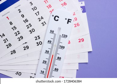 Weather thermometer with a monthly calendar on a purple background. Top view