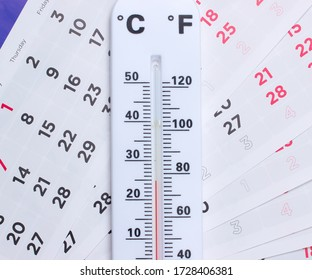 Weather thermometer on monthly calendar close up