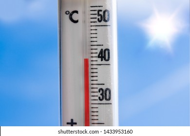 a weather thermometer reaching high temperatures over 40 degrees during heat wave in europe on a very hot day with the sun and a blue sky in the background catched a fire glass cracks broken by flames