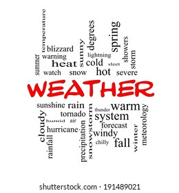 Weather Word Cloud Concept in red caps with great terms such as rain, sunshine, forecast and more.