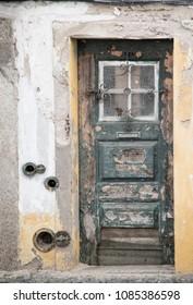 Weather and worn exterior door