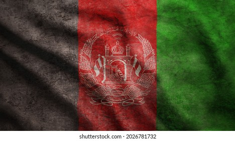 Weathered Afghanistan flag grunge rugged condition waving