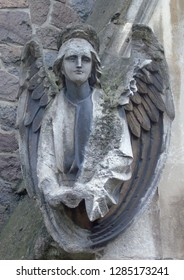 Weathered angel statue