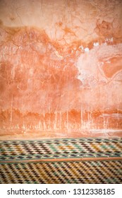 Weathered background with tiled floor in Morocco