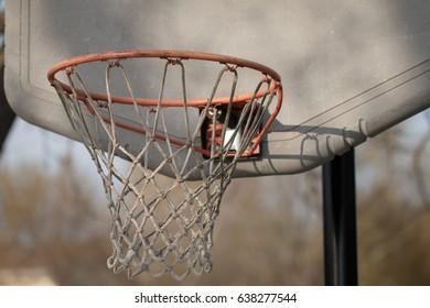 Weathered basketball hoop