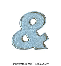 Weathered blue stone style ampersand or and sign symbol in a 3D illustration with a rough rocky aged texture and icy blue color in a basic bold font isolated on a white background with clipping path.
