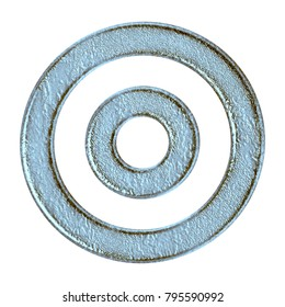 Weathered blue stone style concentric circles rings or target shape in a 3D illustration with a rough rocky worn aged texture and icy blue color isolated on a white background with clipping path.
