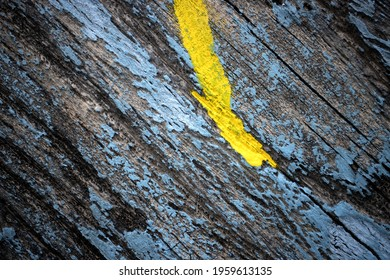 Weathered Blue  Wooden Background With Yellow Line, Decayed Structure With Fresh Color Intervention.