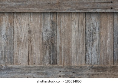 Weathered boards on the side of an old wooden crate or box with border trim on the top and bottom held on by rusty old screws. Perfect for a sign or background.