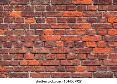 Weathered building exterior red brick wall background