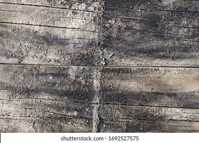 Weathered Construction Timber Wooden Slats Background with Quartz Sand and Cement
