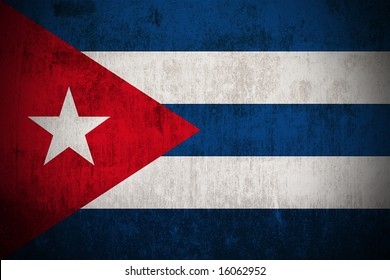 Weathered Flag Of Cuba, fabric textured