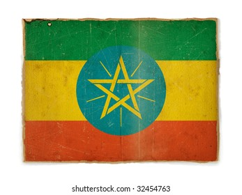 weathered flag of Ethiopia, paper textured
