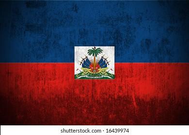 Weathered Flag Of Haiti, fabric textured