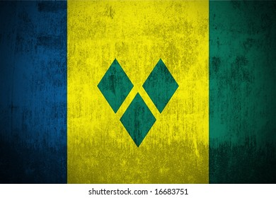Weathered Flag Of Saint Vincent and the Grenadines, fabric textured