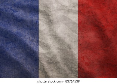 Weathered France flag grunge rugged condition waving