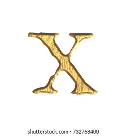 Weathered gold metallic style lowercase or small letter X in a 3D illustration with a tarnished golden color metal surface and jagged edge font isolated on a white background with clipping path.