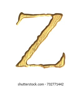Weathered gold metallic style uppercase or capital letter Z in a 3D illustration with a tarnished golden color metal surface and jagged edge font isolated on a white background with clipping path.