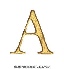 Weathered gold metallic style uppercase or capital letter A in a 3D illustration with a tarnished golden color metal surface and jagged edge font isolated on a white background with clipping path.