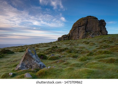 Weathered granite rocks of Haytor at dawn, Dartmoor National Park