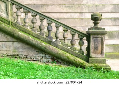 Weathered historic staircase with baroque balustrade