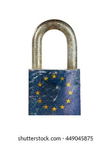 Weathered lock with European Union flag on the surface.
