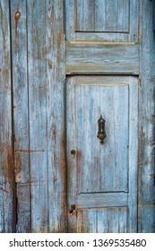 Weathered old blue door texture