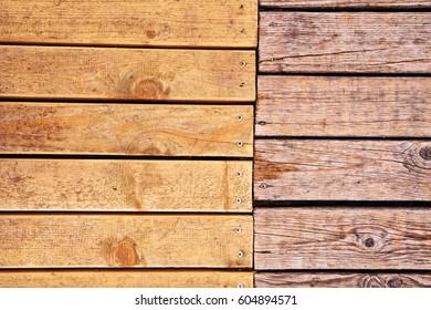 Weathered outdoor patio wooden flooring texture, hardwood planks background