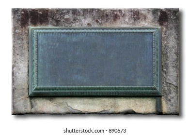 A weathered plaque embedded in a wall stone. Empty to fill in your info. [Isolated]