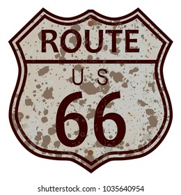 Weathered Route 66 traffic sign over a white background