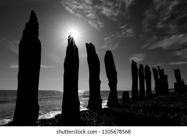 Weathered Sea Defences at Winchelsea Beach, Sussex, UK