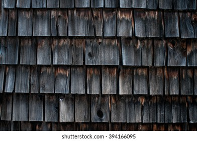 Weathered shingles of an old mill building, Wilton, New Hampshire.