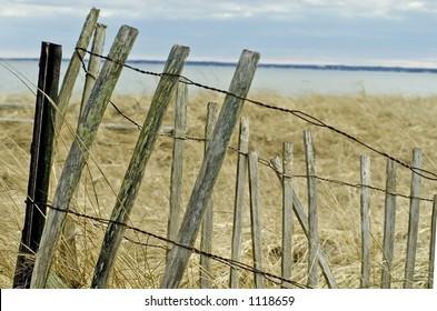 A weathered snow fence on a Maine beach sand dune.