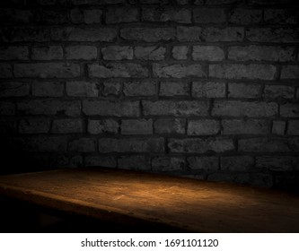 Weathered stained old brick wall background design