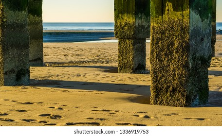 weathered stone poles at the beach, view on the ocean, landscape of the belgian coast