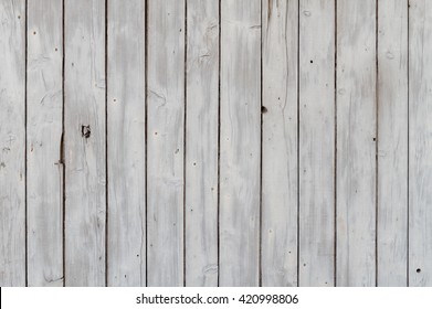 Weathered White Painted Wooden Slats Background