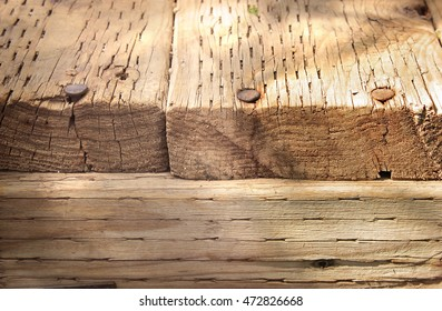 Weathered wood with Rusted Nails