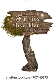 Weathered Wood sign with Letters Fairies Live Here on isolated background/Aged wooden sign with letters Fairies Live Here