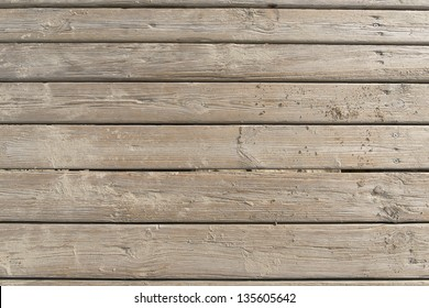 Weathered Wooden Boardwalk on Sand / Aged beach brown wooden floor over summer sand