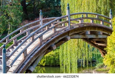weathered wooden bridge in Japanese garden