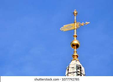 The weathervane on St Martin-in-the-Fields church, designed by James Gibbs and built in 1726 in the north-east corner of Trafalgar Square, London.