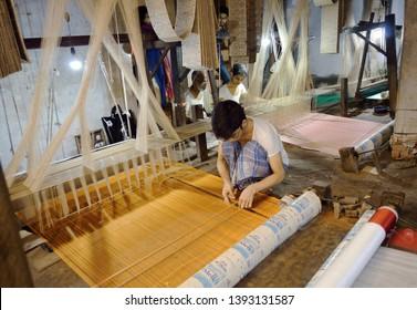 Weave Hand loom Benarasi Sari at Varanasi India on 20th April 2019
