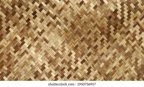 Weave pattern background and bamboo texture. The classic pattern of bamboo wickerwork is part of traditional Thai furniture for the background and wallpaper. Selective focus