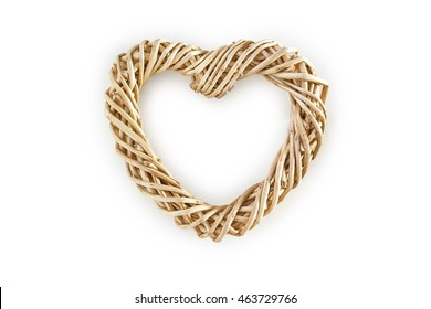 Weaved wooden heart isolated on white background