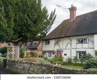 Weavering, Kent, UK, November 2019 - An ancient timber framed cottage and garden in the village of Weavering, Kent, UK
