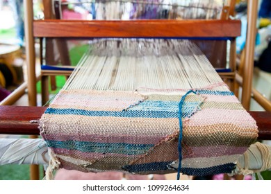 Weaving machine or Household weaving for weaving traditional Thai Linen. Weaving loom for homemade Linen textile production in Thailand